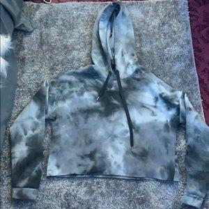 Marble cropped hoodie